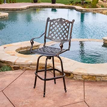 Great Deal Furniture 238785 Pomelo Outdoor Cast Aluminum Barstool, Antique Copper