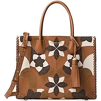 2d87aa805bbd9 MICHAEL Michael Kors Mercer Large Floral Patchwork Convertible Leather Tote  (Acorn)