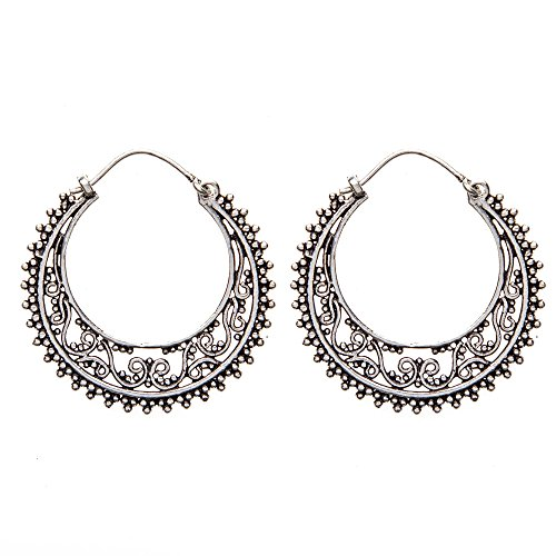 81stgeneration Women's Brass Silver Tone Filagree Creole Swirl Dotwork Ethnic Earrings