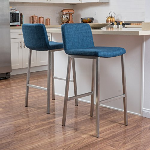 Christopher Knight Home 296618 Sabiniano Blue Fabric Barstool Set of 2 ,