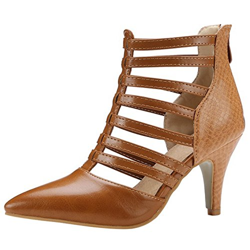 COOLCEPT Women Rome High Heel Summer Boots Cut Out Closed Toe Pumps Yellow-Brown 3CFXuu