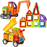 Best Choice Products Kids 162PC Multi Color Magnetic Blocks Tiles Educational STEM Toy Excavator Dump Truck Building Set