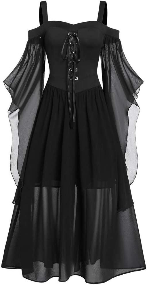 US Stock Arrowsy Womne Plus Size Cold Shoulder Butterfly Sleeve Lace Up Halloween Dress