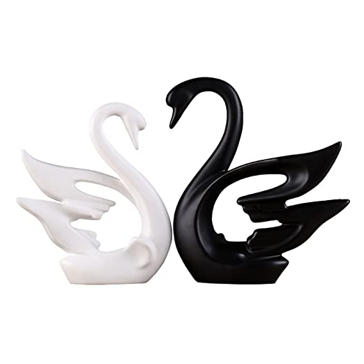 Vitrocerámicas Simple Negro y Blanco Couple cisne decoración ...