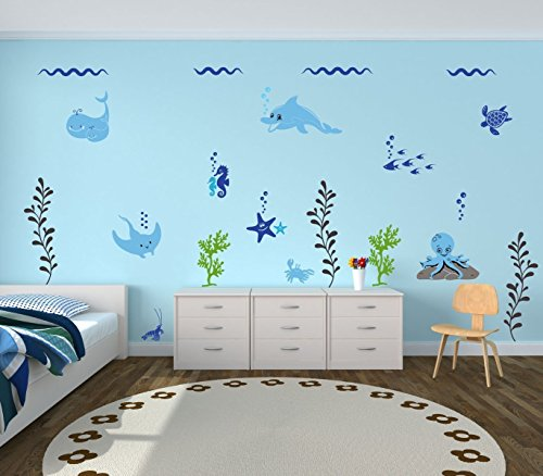 Ocean Life Wall Decals Vinyl Decor for Kids Room, Playroom, Nursery - Underwater Scene With Turtles, Dolphins, Starfish, Octopus, Seahorse, Fish, Whale, Stingray ()