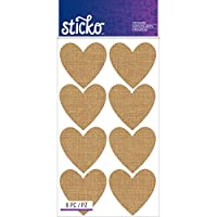 Sticko Label Burlap Hearts Stickers
