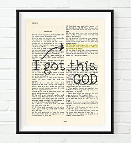 Vintage Bible verse scripture - I Got this -God - Psalm 55:22 Christian ART PRINT, UNFRAMED, Cast your cares on the Lord and He will sustain you dictionary wall & home decor poster gift
