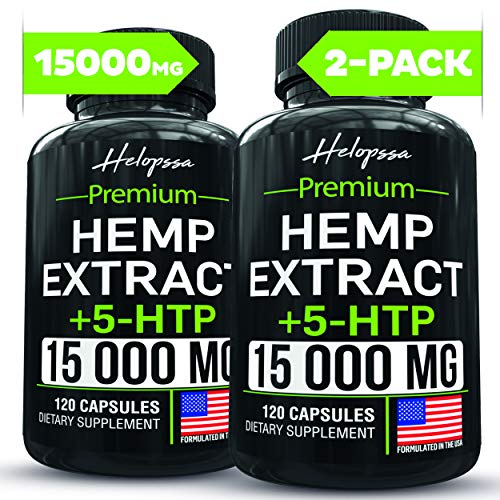 (2 Pack   240 Pills) Hemp Oil Capsules 15 000MG of Pure Hemp Extract - Pain, Stress & Anxiety Relief - Natural Sleep & Mood Support - Made in The USA - Maximum Value - Rich in Omega 3, 6, 9