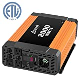 Ampeak 2000W Power Inverter 12V DC to 110V AC Car Charger with 3 AC Outlets 2.1A USB Truck/RV Inverter/Converter