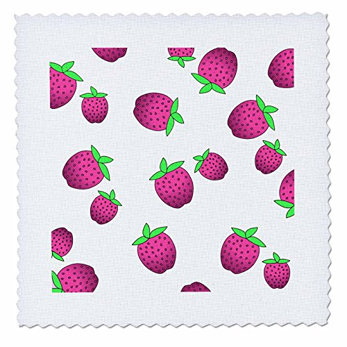3dRose qs_24743_1 Strawberry Print Fresh Pink Strawberries on White-Quilt Square, 10 by - Prints Fresh T Shirts