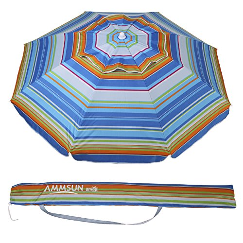 AMMSUN 6.5 Ft Outdoor Patio Beach Umbrella Sun Shelter with Tilt and Carry Bag UPF 50+ Multicolor Blue Yellow