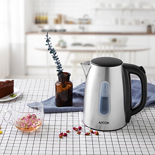 Electric Kettle 1.7L Stainless Steel Tea Kettle with British Strix Control, 1500W Fast Boiling Water Kettle, Hot Water Kettle Electric with Auto Shut-Off, BPA-Free By Aicok by AICOK (Image #6)