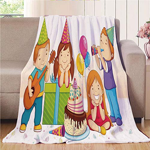 Throw Blanket Custom Cozy Blanket Perfect for Couch Sofa or Bed Beautiful 3D Printed,Birthday Decorations for Kids,Colorful Kindergarten Party Cone Hats Cake Boxes Music Print,Multicolor,31.50
