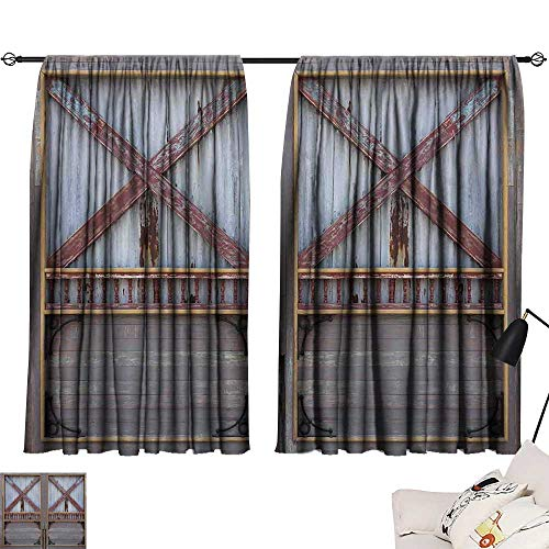 Ediyuneth Tie Up Shades Rod Blackout Curtains Industrial,Zinc Style Wooden Gate Image Street Construction Window Covered with Plank Image,Brown Grey 63
