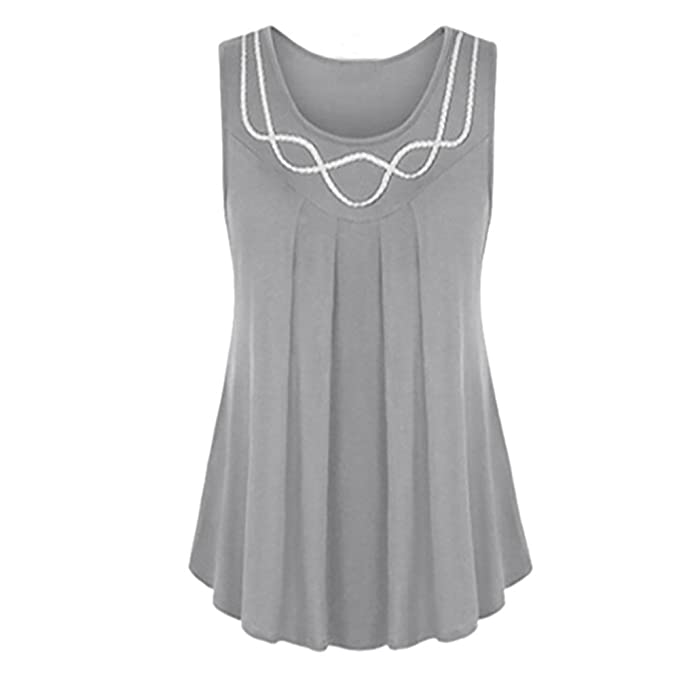 d39f71b2 Hatoys Women Plus Size Soft Sleeveless O-Neck Tops T-Shirts Blouse at  Amazon Women's Clothing store: