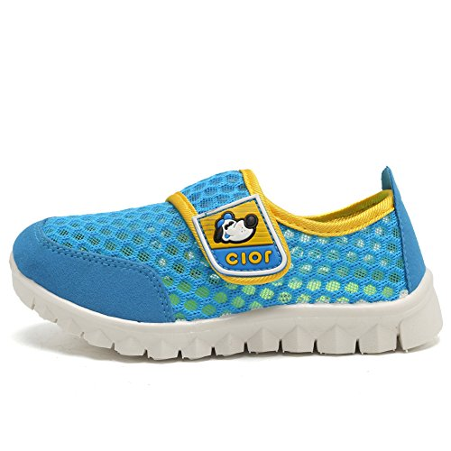 CIOR Kid's Mesh Lightweight Sneakers Baby Breathable Slip-on For Boy and Girl's Running Beach Shoes(Toddler/Little Kid),Blue01,29 2