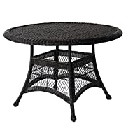"Jeco W00207D-D Wicker Round Dining Table, 44"", Black"