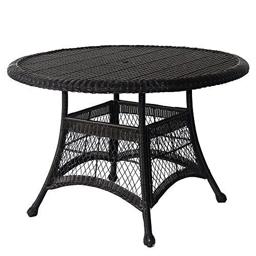 Jeco W00207D-D Wicker Round Dining Table, 44
