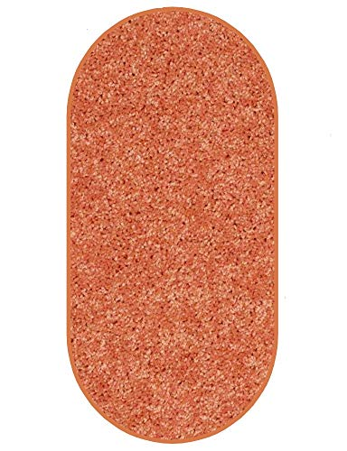 Koeckritz 5 x8 Oval Area Rug. Bright Fire Orange Carpet.