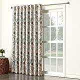 Sun Zero Kara Floral Print Energy Efficient Grommet Patio Door Curtain Panel, 100' x 84', Stone