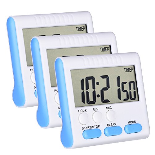 Mudder 3 Pack Magnetic Digital Kitchen Timer 24 Hours Clock Timer with Loud Alarm and Big Screen (Blue) (Hour Kitchen Timers compare prices)