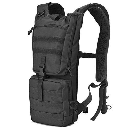 Tactical Hydration Pack Backpack with 2.5L Water Bladder Outdoor Military Army Airsoft Molle Hydration Packs Backpacks for Men Women Hiking Cycling Running Black (Pack Molle Hydration Black)