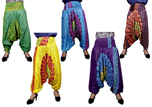 5Pcs-25pcs Ethnic Aladdin Trouser Harem Boho Hippie Pants Wholsale Lot (Multi-25pcs) by Krishna Mart India