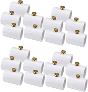 Mangsen 1/2 Inch PVC Coupling with Brass Mist Nozzle 20 Pcs PVC Split Section with Stainless Steel Heads for 20mm Water Pipe Misting Cooling System