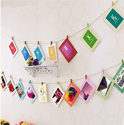 Reinhar Beatiful DIY Cardboard Photo Frame with Wood Clips & Rope Retrato Wall Picture Frame Hanging Decoration Home Art home decor 5 7 inch