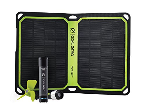 Goal Zero Switch 10 Core Recharger with Nomad 7 Plus Solar Kit, 2600mAh Power Bank with Flashlight Tip and Fan Tool Recharging Kit