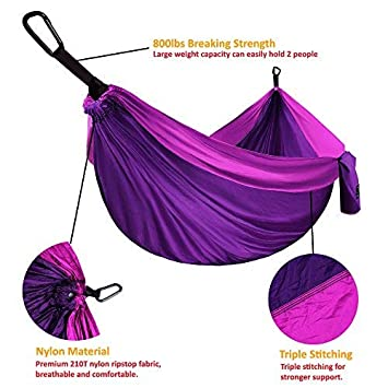 Gold Armour Camping Hammock – XL Double Parachute Hammock 2 Tree Straps 16 LOOPS 10 FT Included USA Brand Lightweight Nylon Portable Mens Womens Kids, Best Camping Accessories Gear