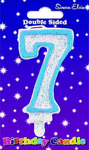 Amazon.com: Azul vela de cumpleaños – número 7 por Creative ...