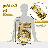 Juvale Small Number 5 Gold Foil Pinata, Fifth