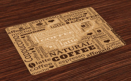 Ambesonne Modern Place Mats Set of 4, Modern Style Typography Word Arrangements Tracking Coffee Themed Beverage Design, Washable Fabric Placemats for Dining Room Kitchen Table Decor, Pale ()