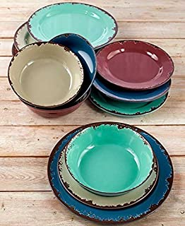 The Lakeside Collection 12-Pc. Rustic Melamine Dinnerware Set & Amazon.com | Rustic Melamine Dinnerware 12 Pc Set Vintage-Inspired ...