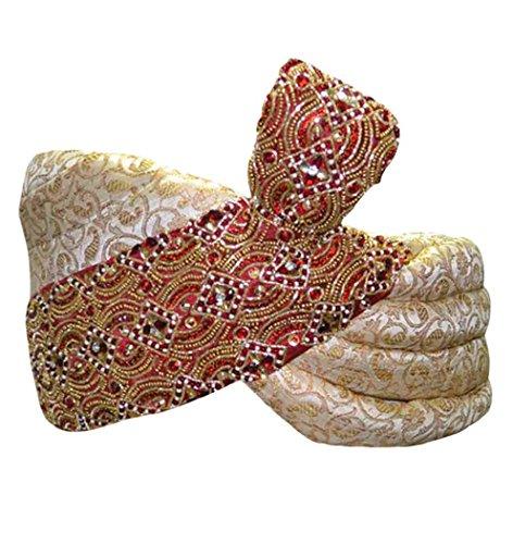 INMONARCH Mens Wedding Turban pagari safa hat TU2269 23-inch Ivory by INMONARCH
