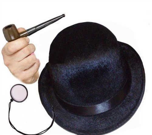 British Gentleman Edwardian Victorian Detective Bowler Pipe Fancy Dress Costume by Star55 (Victorian Gentleman Fancy Dress)