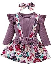 Småbarn barn baby flicka kläder set ribbad stickad t-shirt topp blommig hängslen kjolar pannband kläder set, Lila, 2-3 År