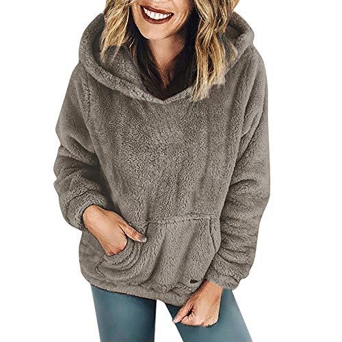 Dressin Women Warm Faux Shearling Hooded Sweatshirt Winter Coat Outwear with Pockets -