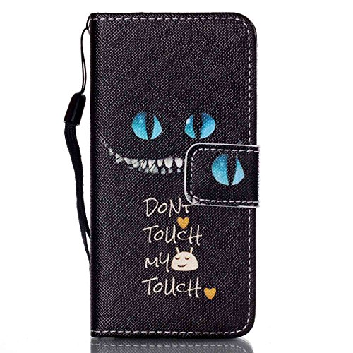iPod Touch 5 Case, iPod Touch 6 Cover, Jenny Shop Fashion Flip Wallet Pu Leather Cover with Credit Card Slots Cash Pocket Stand Function with Wrist Strap (Don't Touch My Phone)