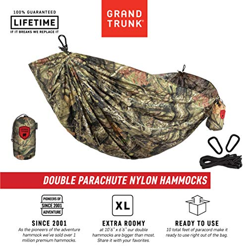 Grand Trunk Hammock - Camping Double, Tree Hanging Kit Included - Prints for Every Personality Parachute Nylon, Portable, Indoor Outdoor, Travel, Backpacking, Survival, Mossy - Grand Parachute Trunk Hammock