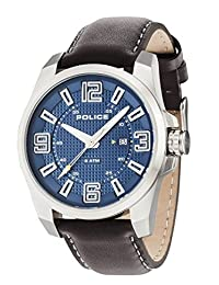 Police Men's 46mm Brown Leather Band Steel Case Quartz Blue Dial Analog Watch 14762JS/03