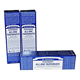 Dr Bronner's Peppermint All-One Toothpaste Pack of 3 by Dr. Bronner's 45 Dr Bronner's Peppermint All-One Toothpaste Pack of 3;70% Organic Ingredients and Fluoride Free;No Artificial Colors, No Artificial Sweeteners, No Artificia