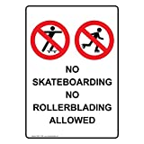 ComplianceSigns Vertical Aluminum No Skateboarding No Rollerblading Allowed Sign, 14 x 10 in. with English Text and Symbol, White