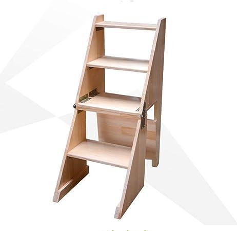 ZHAOYONGLI-Taburete Plegable Escaleras de Mano Silla Plegable de Madera Maciza de la Escalera/Silla de la Escalera de la Silla con 4 Pasos (Color : Color Madera, Tamaño : 40 * 64 * 92cm): Amazon.es: Hogar