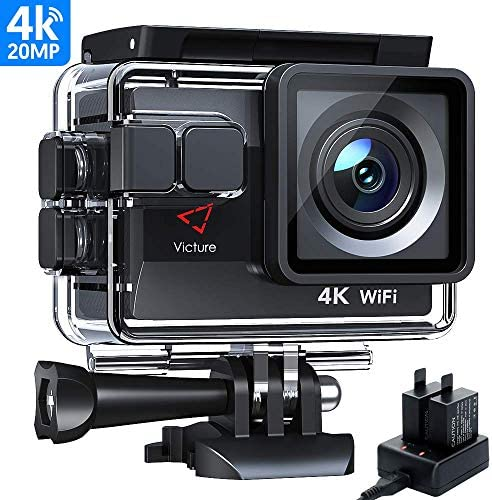 Victure AC800 4K Ultra HD Action Camera, PC Webcam, 40M Underwater 170 Wide-Angle Lens Sports Camera, Extra Outlet Charger for 2 1050mAh Rechargeable Batteries and Mounting Accessories Kit Included