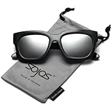 SojoS Oversized Fashion Square Frame Polarized UV400 Womens Sunglasses SJ2027