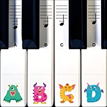 Monster Piano Stickers for Learning Piano or Keyboard - Transparent 88, 76, 61 & 49 Key Set with Replacement Stickers that Grow with Kids