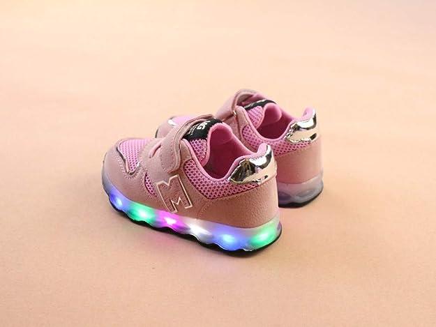 JiaMeng Zapatos de Bebé Viaje Antideslizantes Niños Bebés Zapatillas Niños Zapatos de Malla Zapatos de bebé para niños Zapatillas de Deporte con luz ...