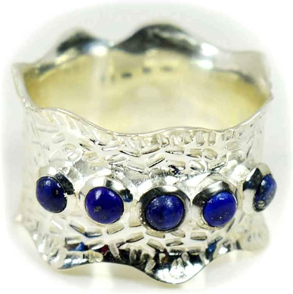 925 Sterling Silver Ring Blue Sapphire Round Natural Size 4 5 6 7 8 9 10 11